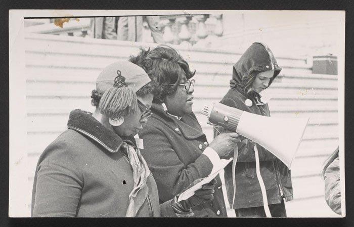 Bess Stevenson with a megaphone