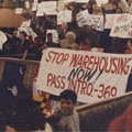 An anti-warehousing action at City Council (1988).