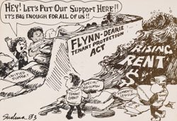 Comic in support of the Flynn-Dearie Tenant Protection Act (1983).