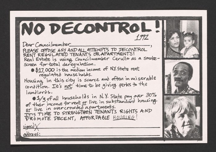 No Decontrol postcard to council members (1992).