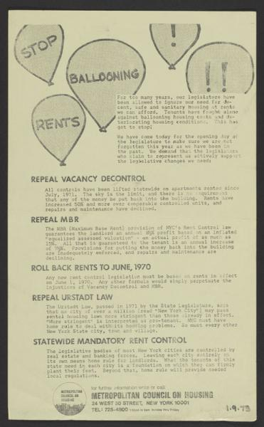 Poster on changes to rent regulation system (1973).