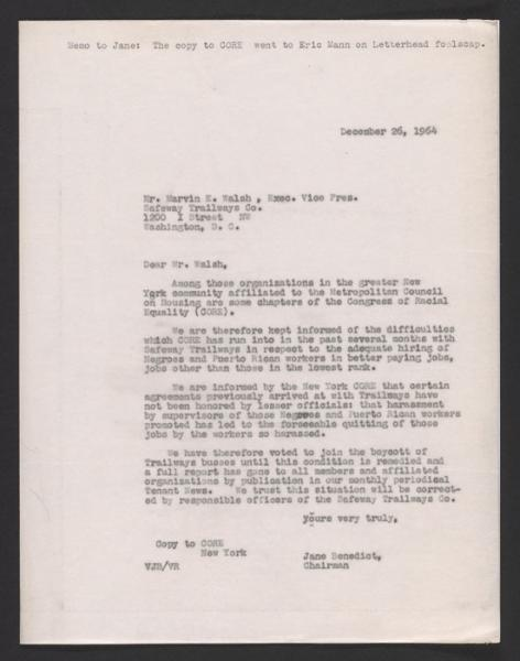 Letter from Jane Benedict to Trailways confirming Met Council on Housing's support of the boycott (1964).