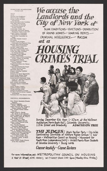 English poster for the Housing Crimes Trial (1970).