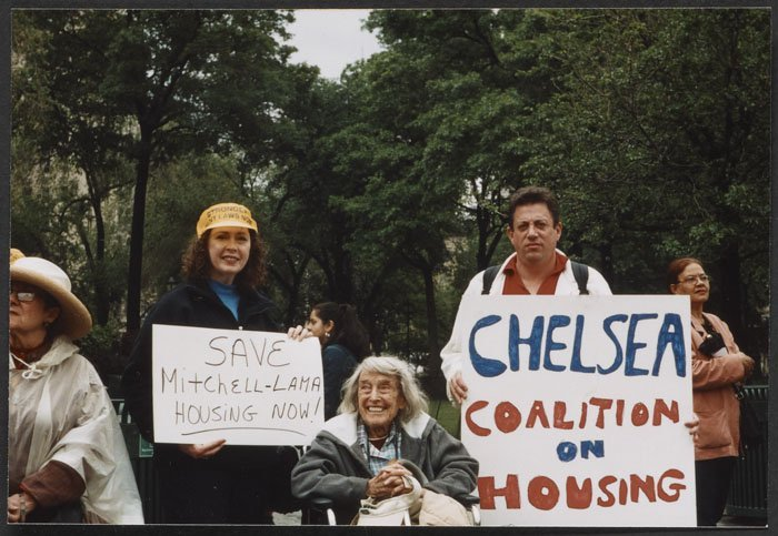 Jane Wood at a Chelsea Coalition on Housing rally (undated).