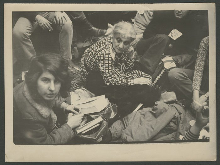 Jane Benedict at a sit-in to protest vacancy decontrol (undated).