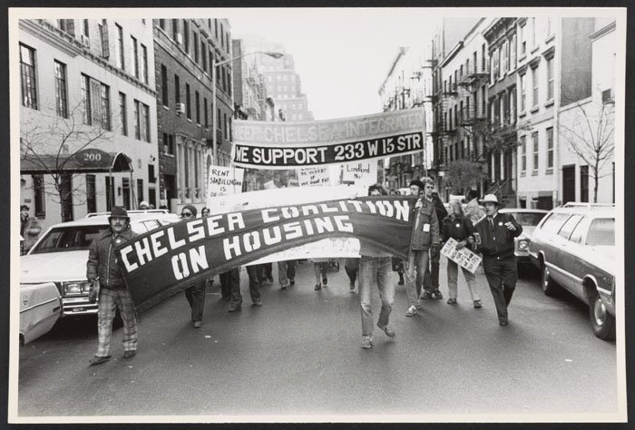 Jane Wood at a Chelsea Coalition on Housing rally (1980).