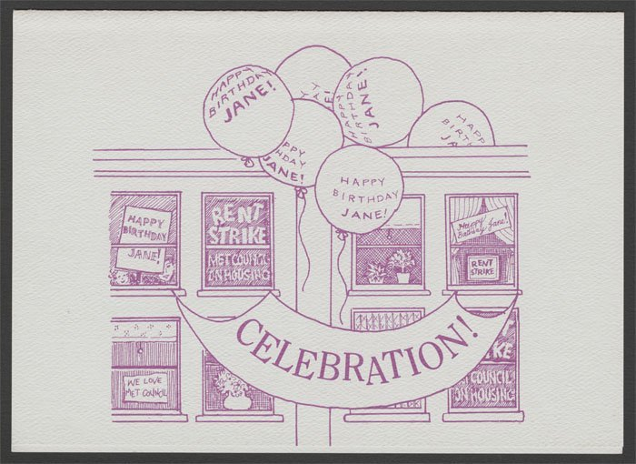Invitation for Jane Benedict's 80th birthday (1991).