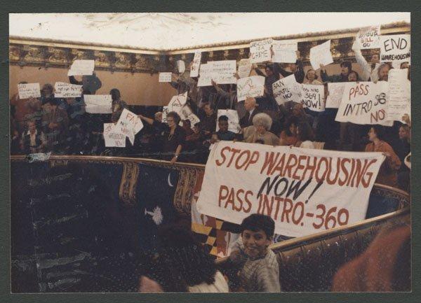An anti-warehousing action at City Council (1988).