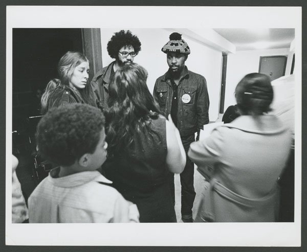 Meeting in the hallway of a squat at 90th St and Columbus Ave (1970).