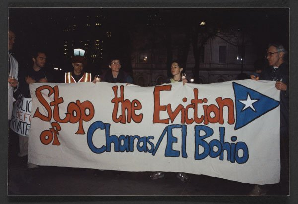 Demonstration against the eviction of Charas (2001).