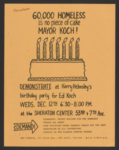 Poster for demonstration on homelessness (1980s).
