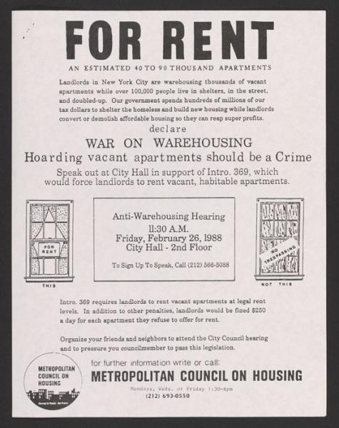 Poster for hearing on warehousing (1988).