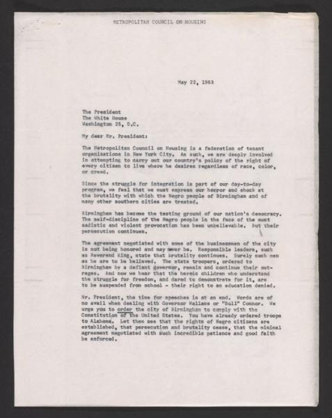 Met Council on Housing letter to JFK regarding the violence in Birmingham (1963).