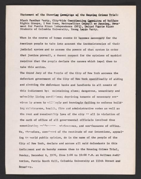 Statement of the Housing Crimes Trial steering committee (1970).